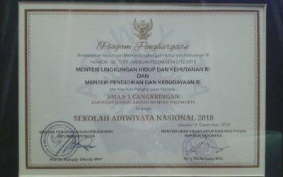 SMA Negeri 1 Cangkringan Meraih Predikat Sekolah Adiwiyata Nasional 2018